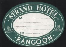 Hotel label luggage labels old BURMA Rangoon #592